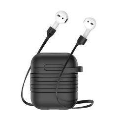 Baseus Portable Protective Case With Magnetic Silicone Sling For Apple AirPods - Black