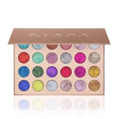 CLEOF cosmetic Pressed Glitter Eyeshadow Palette (24 Colors) - Highly Pigmented, Shimmery - Waterproof & Long-Lasting