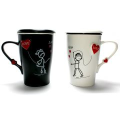 Love Couple Mug Set Matching His Her Coffee Tea Mugs Cup Anniversary Wedding Valentine Girlfriend Gift