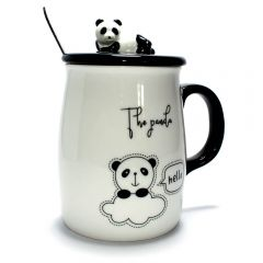 Panda Mug Gifts - Doublewhale Best Friend Gifts Mugs Tea Cups with Lids/Spoon for Teen Girls/Girlfriends/Women/Mum