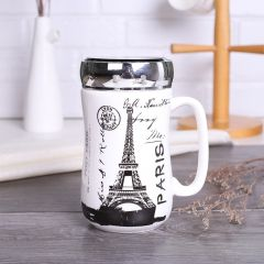 Paris Printed Designer Ceramic Coffee Mugs with Mirror Lid