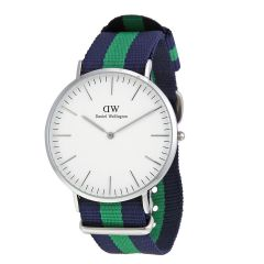 Silver Fashionable Design Watch With Navy & Green Fabric Strap Band