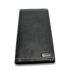 Wenz Genuine Leather Mens Long Wallet Leather Pockets Card Bag Clutch Center Bifold Purse Black
