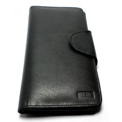 Genuine Leather Wenz Long Wallet Unisex Bifold Purse Black