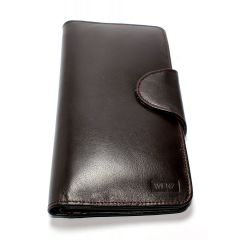 Genuine Leather Wenz Long Wallet Unisex Bifold Purse Coffee Brown