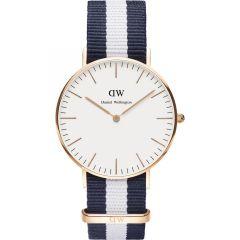 Fashionable Design Navy & White Fabric Strap Band Golden Watch