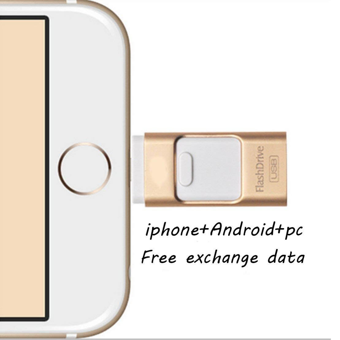 64 GB USB Flash Drive Dual Storage for iOS and PC Gold
